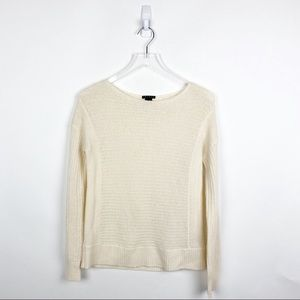 Theory 100% Cashmere Cream Knit Sweater size small